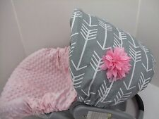 Arrows print canopy & baby pink minky infant slip cover/Graco&custom size