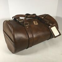 "Greyhound Bus Duffle Bag Vintage Faux Leather 18""x11"" Transportation Collectible"