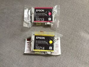 EPSON T0713 & T0714 MAGENTA & YELLOW INK CARTRIDGES GENUINE SEALED IN PACK