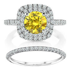 1.25 TCW Fancy Yellow Diamond Cushion Halo Ring Wedding Band 14K White Gold