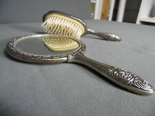 Antique Silver Plate Victorian Style Hair Brush and Mirror Set