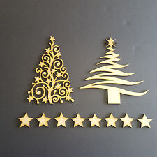 Wooden MDF Christmas Trees Shape Family Tree Crafting Gift Stars Pack Of 2