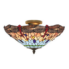 Searchlight 3 Light Dragonfly Tiffany Antique Brass Semi-flush Ceiling Uplighter