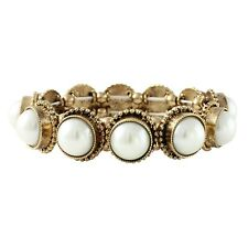 NEW White Simulated Pearl Pop Stretch Bracelet with Antiqued Goldtone Bezels