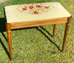Vintage Wood Piano Bench Stool Needlepoint Cushion Vanity Stool Seat Storage