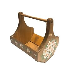 """Vintage Wooden Basket Caddy Tote Box Hand Painted White Daisies 9""""x9""""x7"""""""
