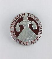 Vintage Russian Toys Folk Art Pin USSR Made