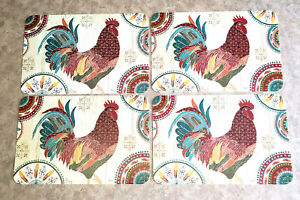 Barn Rooster Reversible Decofoam Placemats - Set of 4 - NEW