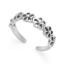 Genuine 925 Hallmarked Sterling Silver Daisy Flower Adjustable Band Toe Ring