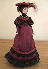 Dolls House Miniature 1:12th Scale Victorian Lady In Crimson Gown
