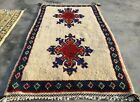 Authentic Hand Knotted Vintage Russian Julkras Wool Area Rug 4.0 x 2.5 Ft