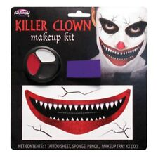 Killer Clown Mens Ladies Horror Halloween Make Up Kit Scary Clown