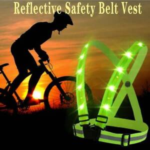 Adjustable USB Rechargeable LED Reflective Belt Vest for Outdoor Running Cycling
