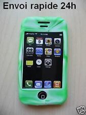 Housse etui silicone  vert blanc iphone 3G 3gs + film