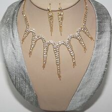 Jewellery Set Necklace Earrings Cristal Strass Bride Necklace Chain Silver 7