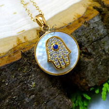 Small Mother of Pearl Gold Crystal Hamsa Pendant .925 Silver Necklace