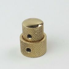 Set Dual Concentric Stacked Control Knobs for Electric Guitar or Bass, Gold