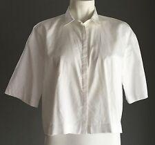 Rockabilly BARDOT Crisp White Short Sleeve Cropped Box Style Shirt Size 8