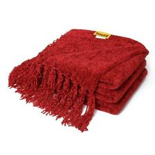 DOZZZ Fluffy Chenille Knitted Throw Blanket with Decorative Fringe for Red