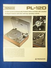 Pioneer PL-12D Turntable Sales Brochure Factory Original The Real Thing     v2