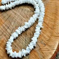 "White Hawaiian Chipped Puka Sea Shell Necklace Surfer Shell Choker 16~20"""