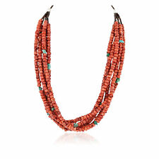 Tag Certified 5 Strand Silver Navajo Turquoise Coral Native Necklace 25279