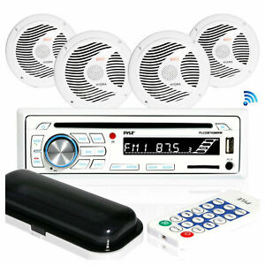 Pyle Marine Bluetooth Receiver Stereo System w/ 2 Pair 6.5 Inch Speakers, White