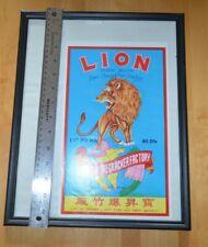 A11 Vintage Lion Firecracker Label Framed