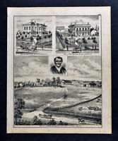 1876 Edgar County Illinois Print - JM Blackburn - DW Zink - WF Boyer Residences