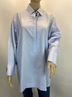 Zara Oversized Casual Retro Boho Blue Button Details Shirt  Blouse Top Sz S