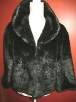 Womens CEJON Accessories Black Faux Fur Cropped Jacket Lined Satin Leopard Sz L