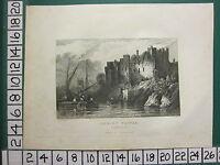 1830 Antico Stampa Shropshire ~ Vista Di Ludlow Castle Da Fiume