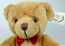Russ Christofur Teddy Bear Plush Brown Stuffed Animal Caress Soft Pets Red Bow