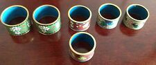 Set of six with three assorted colors, Vintage Antique Cloisonné Napkin Rings