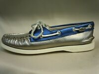 Sperry Top Sider Iconic Metallic Pewter Silver Blue Boat Shoes Womens Size 5