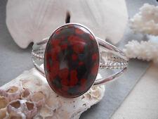 Vintage Southwest Sterling Silver Oval Poppy Jasper Cuff Bracelet    956N