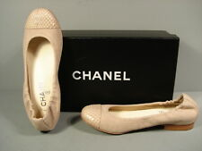 CHANEL 38 CLASSIC GATHERED BEIGE CANVAS SNAKE ROUND TOE BALLERINA FLATS CC NEW