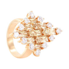 Rose Gold Layered Round Clear Cubic Zirconia Ring Size 7