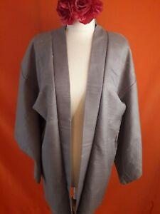 Vintage Retro Original Japanese Kimono Haori Grey