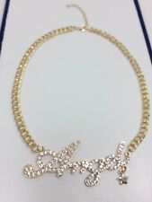 Word Angel Letter Large Crystal XO X O 14k Gold Plated Cuban Link Chain Necklace