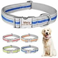 Reflective Nylon Personalized Dog Collar Small Large Puppy Name Free Engraved