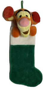 "Disney Plush Tigger Stocking 22"" Winnie The Pooh Christmas Green Sparkles 3D"