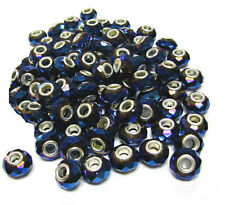 European Beads Charms Navy Blue Roundelle Large Hole Facets 15x10 mm 10 pcs