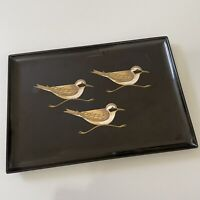 "Vintage Couroc Mid Century 3 Sandpipers Large 18""x12"" Tray"