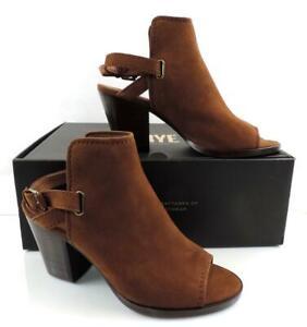Frye Dani Shield Sling Back Sandal Heels Open toe Wood Brown Size 9
