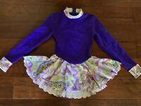 Mondor Figure Skating Dress girls sz 10-12 Polartec blue aqua teal skirt shine