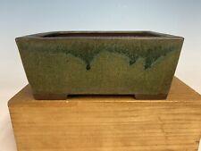 Beautiful Green Glazed Shohin Size Tokoname Bonsai Tree Pot By Yamaaki 7 3/4�