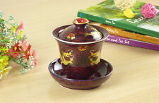 Top Grade Red Golden Dragon Porcelain Gongfu Teacup Gaiwan 200ml 6.7 fl. oz