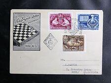 TIMBRES DE HONGRIE : CHAMPIONNAT D'ECHECS BUDAPEST 1950 - CACHET SPECIAL - TBE