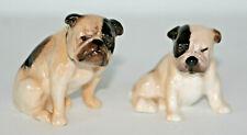 "Vintage & Rare Pair Royal Doulton ""Mini English Bulldog"" Mom & Pup Dog K1 K2"